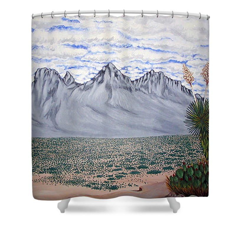 Desertscape Shower Curtain featuring the painting Pass Of The North by Marco Morales