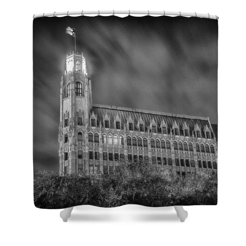 San Antonio Shower Curtain featuring the photograph Passing Storm At The Emily Morgan Hotel by Stephen Stookey