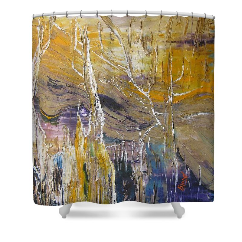 Swamp Shower Curtain featuring the painting Passing Through by Peggy Blood