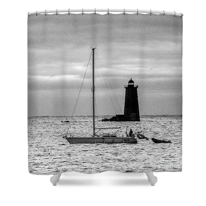 Sunrise Shower Curtain featuring the photograph Passing Whaleback Light In The Early Morning by Jim Hayes