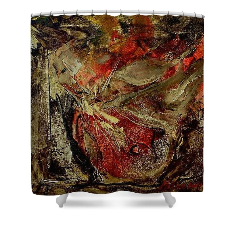Abstract Shower Curtain featuring the painting Passion  by Rome Matikonyte