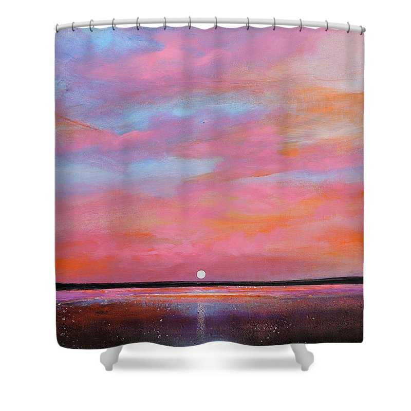 Sunrise Shower Curtain featuring the painting Passion Beach by Toni Grote
