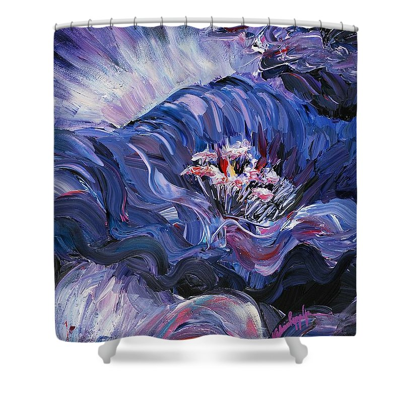 Blue Shower Curtain featuring the painting Passion In Blue by Nadine Rippelmeyer