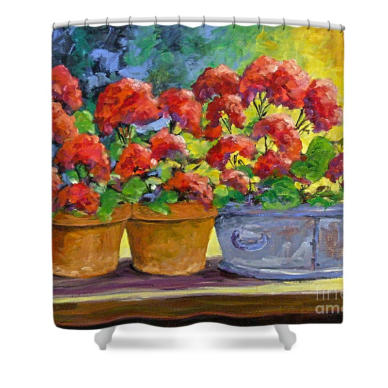 Still Life; Geraniums; Flowers; Terra Cotta; Red; Blue; Yellow; Green; Pranke; Shower Curtain featuring the painting Passion In Red by Richard T Pranke