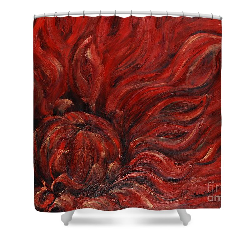 Flower Shower Curtain featuring the painting Passion Iv by Nadine Rippelmeyer