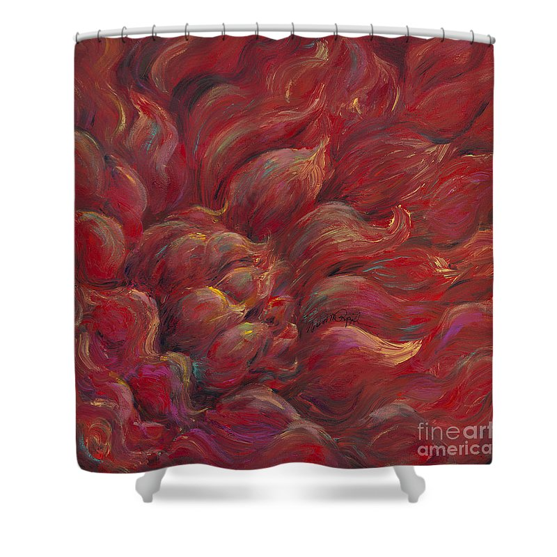 Red Shower Curtain featuring the painting Passion V by Nadine Rippelmeyer