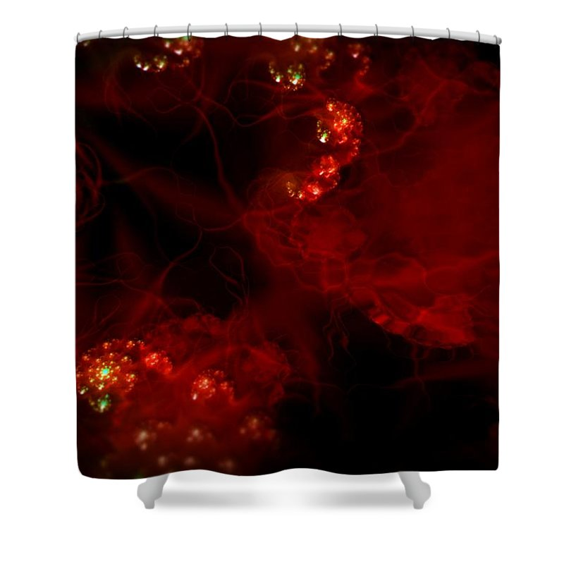 Passion Red Explosion Expression Blood Heart Shower Curtain featuring the digital art Passional by Veronica Jackson