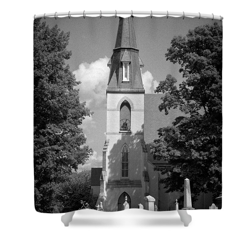 Blacj And White Shower Curtain featuring the photograph Past Congregation by Scott Wyatt