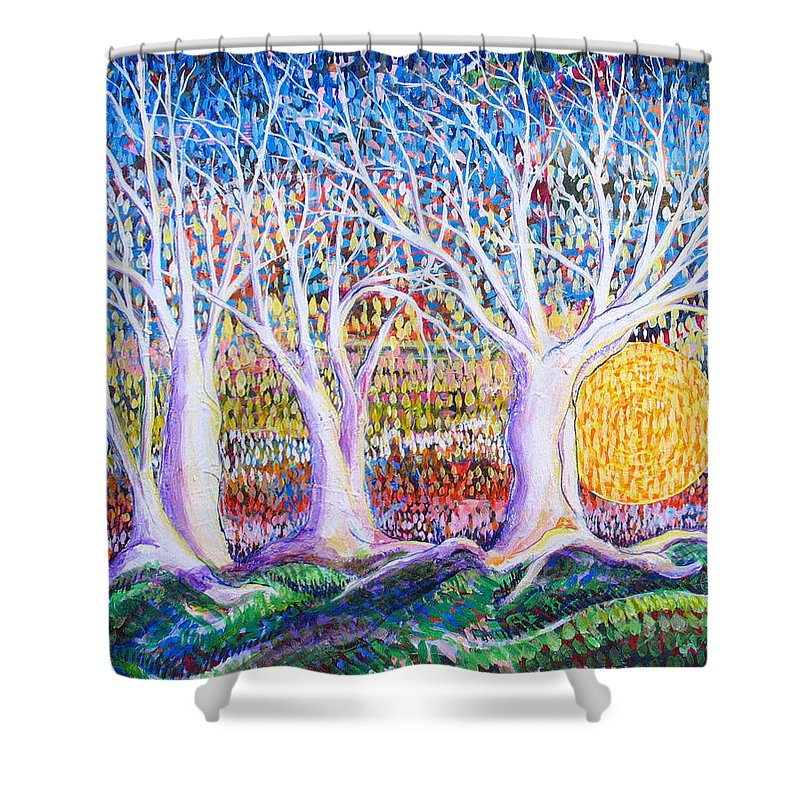 Landscape Shower Curtain featuring the painting Past Present Future by Rollin Kocsis
