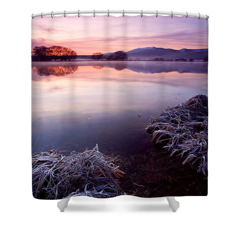 Lake Shower Curtain featuring the photograph Pastel Dawn by Mike Dawson