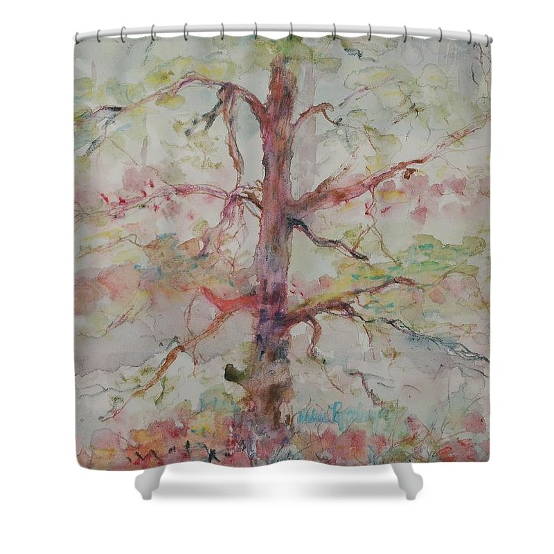 Forest Shower Curtain featuring the painting Pastel Forest by Nadine Rippelmeyer