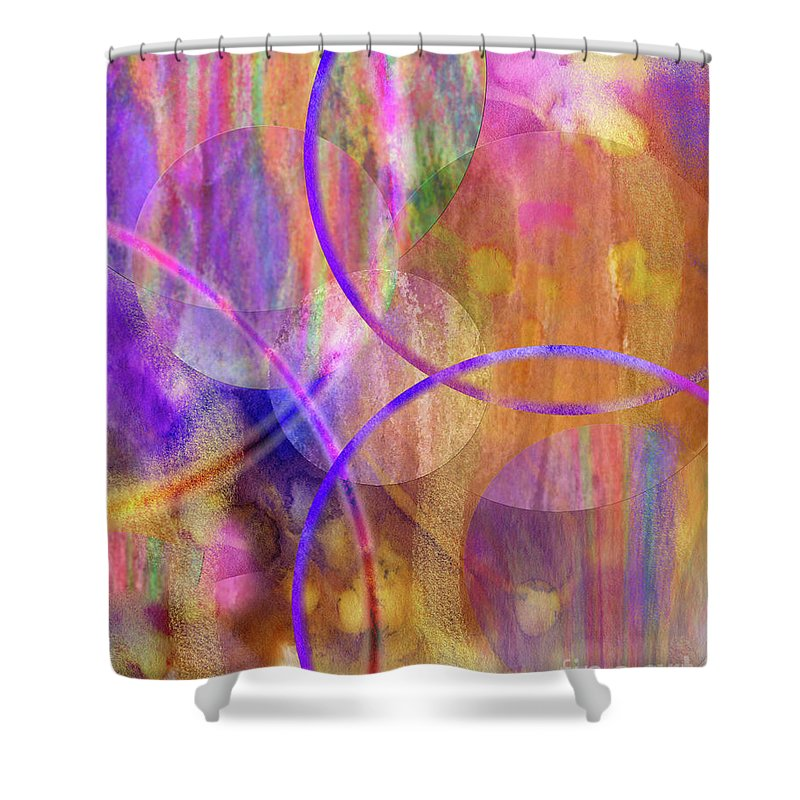 Pastel Planets Shower Curtain featuring the digital art Pastel Planets by John Beck