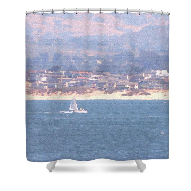 Sailing Shower Curtain featuring the photograph Pastel Sail by Pharris Art