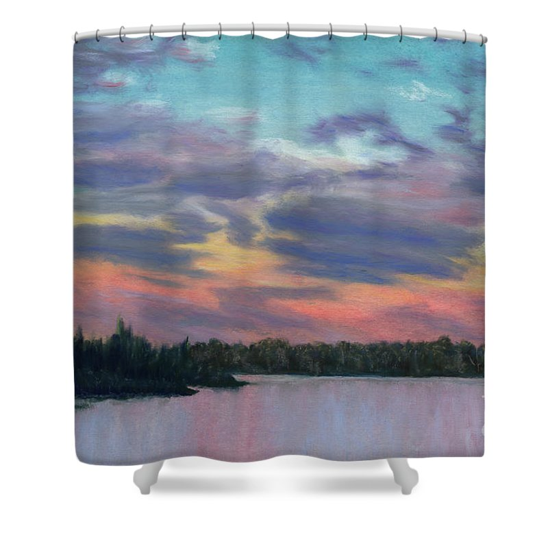 Landscape Shower Curtain featuring the painting Pastel Sunset by Lynn Quinn