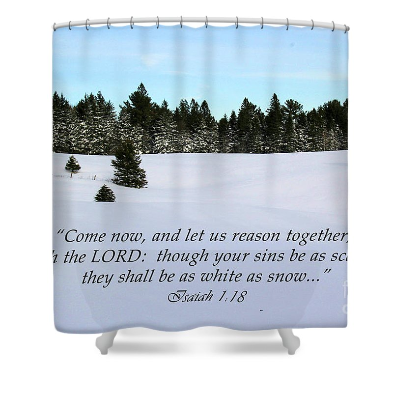 Landscape Shower Curtain Featuring The Photograph Pastoral Winter Wonderland With Scripture By Katie W