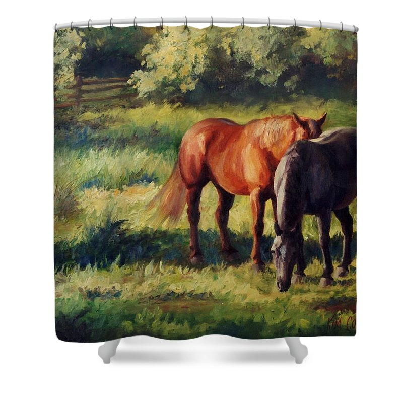 Horse Shower Curtain featuring the painting Pasture At Whites Crossing   Horse Painting by Kim Corpany