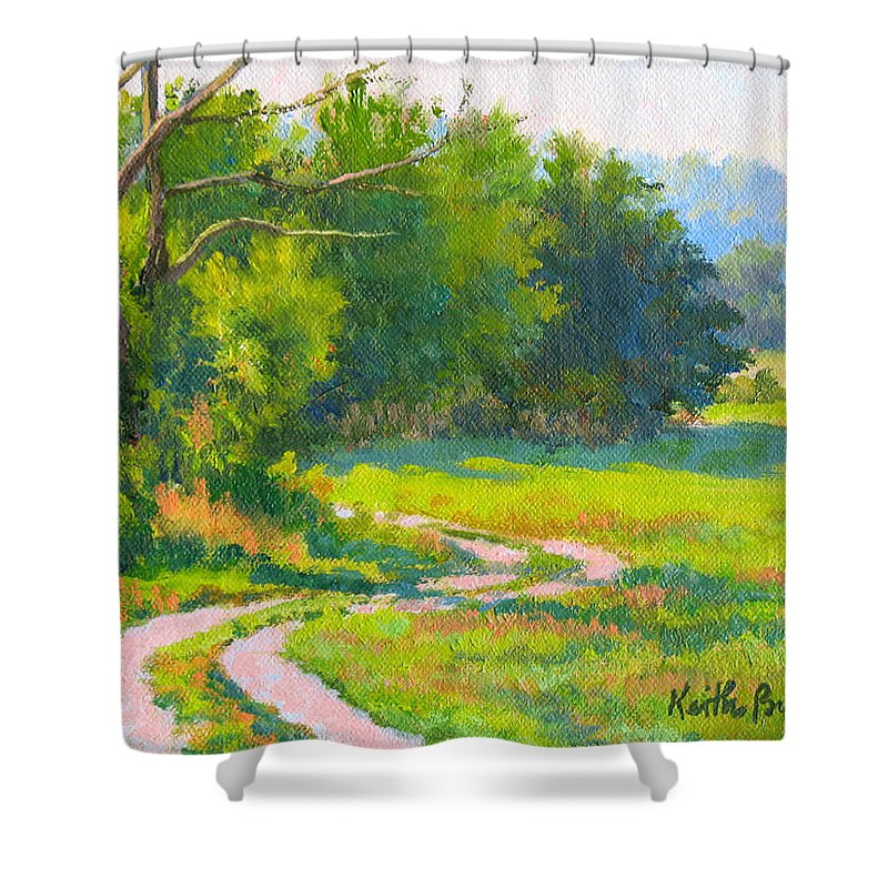 Landscape Shower Curtain featuring the painting Pasture Road by Keith Burgess