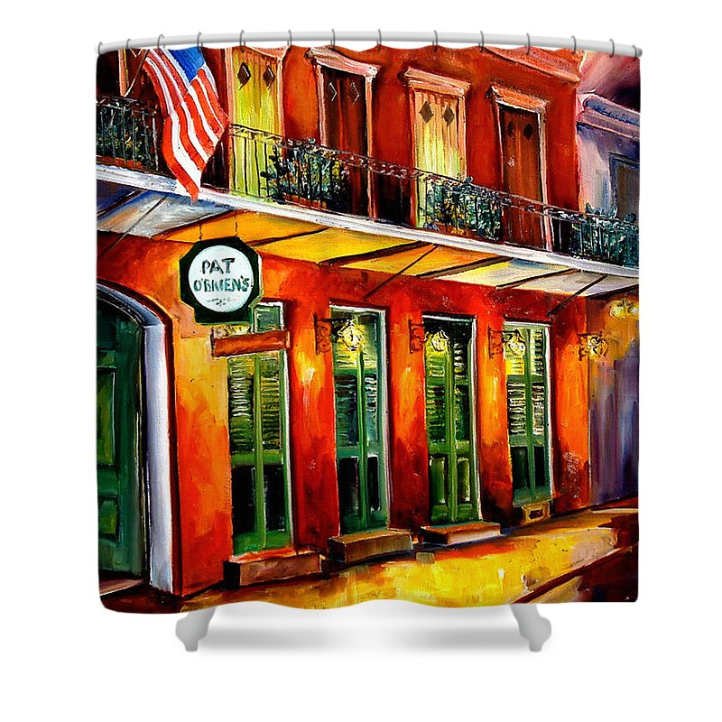 New Orleans Paintings Shower Curtain featuring the painting Pat O Briens Bar by Diane Millsap