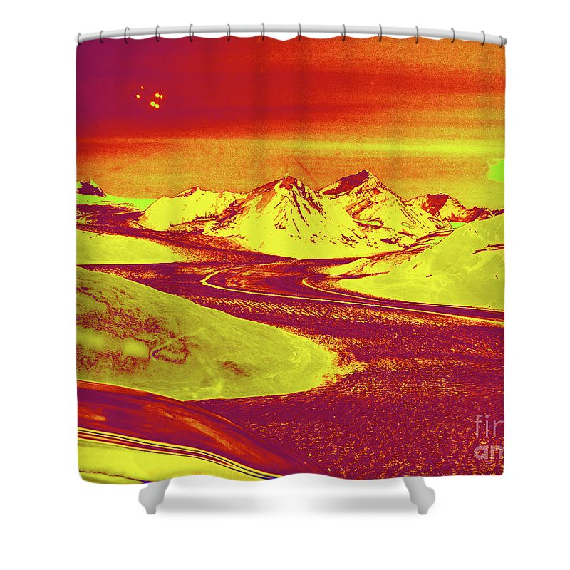 Patagonia Glacer Shower Curtain featuring the digital art Patagonia Glacer by Chris Taggart