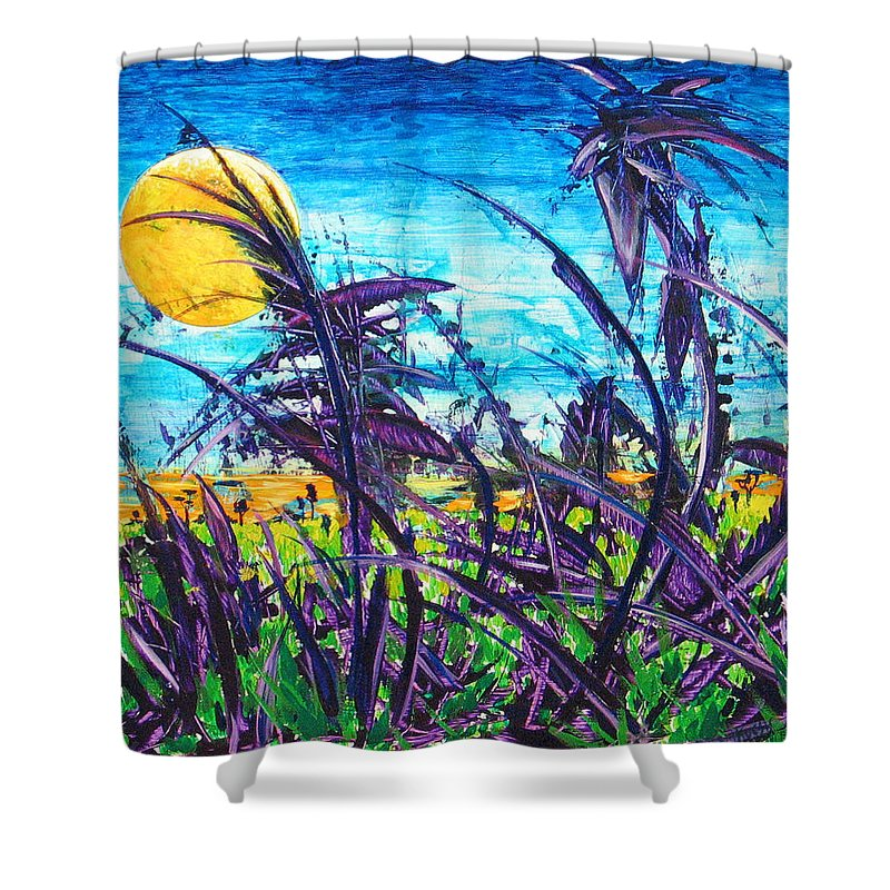Landscape Shower Curtain featuring the painting Patch of Field Grass by Rollin Kocsis