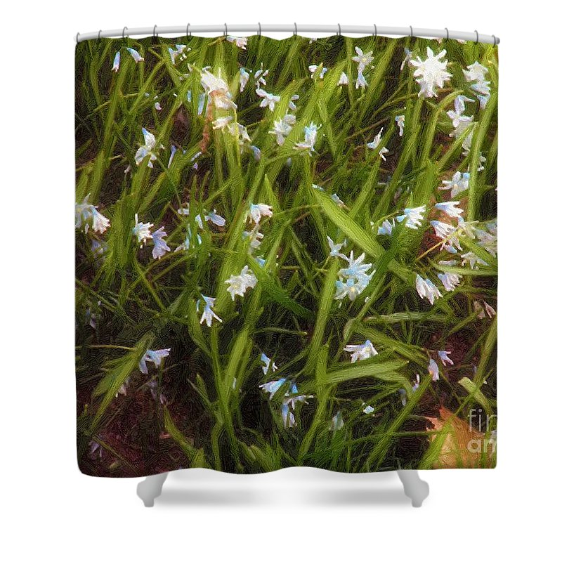 Shower Curtain featuring the painting Patch Of Spring by RC DeWinter