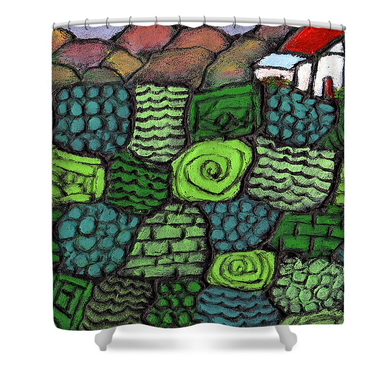 Green Shower Curtain featuring the painting Patches Of Green by Wayne Potrafka