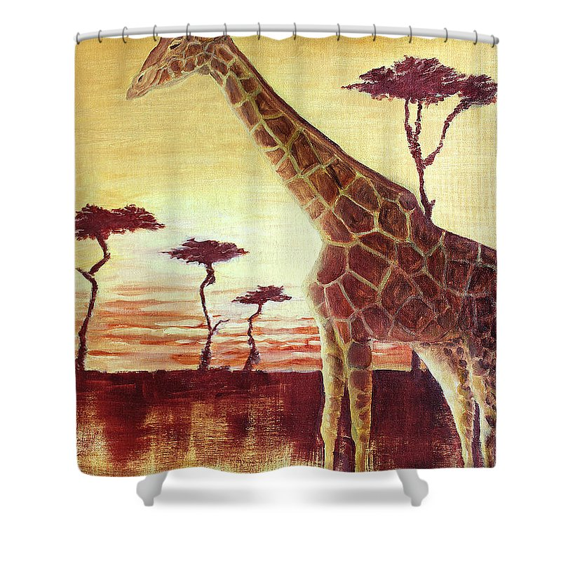 Animal Shower Curtain featuring the painting Patches by Todd Blanchard