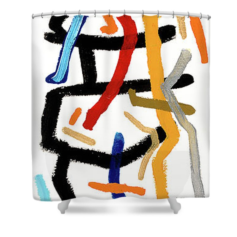 Abstract Shower Curtain featuring the painting Patchwork by Bjorn Sjogren