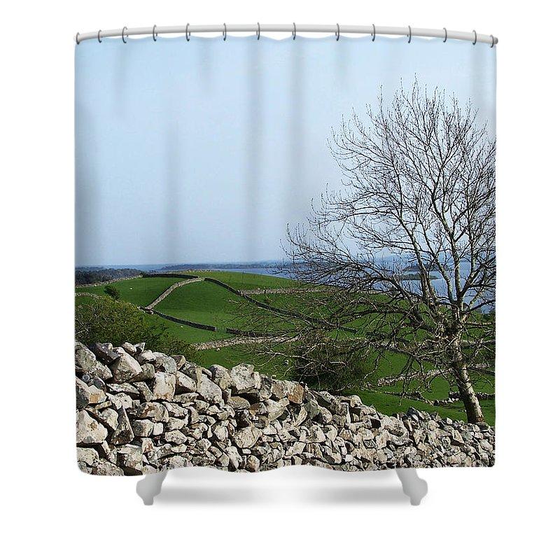 Irish Shower Curtain featuring the photograph Patchwork Quilt Lough Corrib Maam Ireland by Teresa Mucha