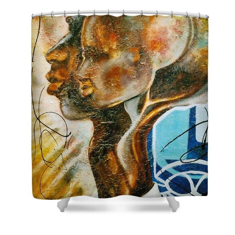 Paternal Shower Curtain featuring the painting Paternal Captivity by Hasaan Kirkland