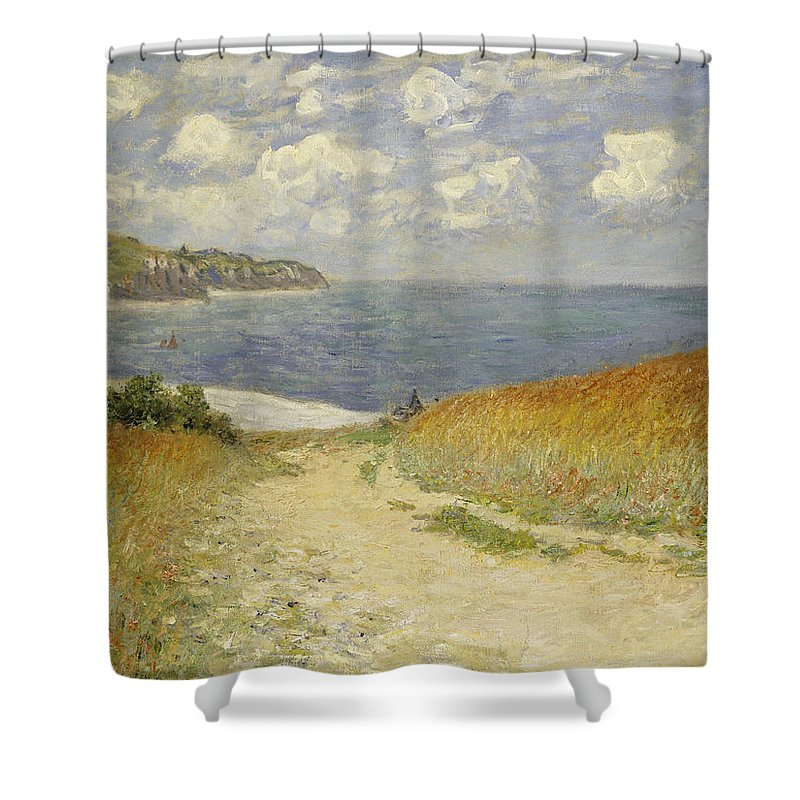 Path In The Wheat At Pourville Shower Curtain featuring the painting Path In The Wheat At Pourville by Claude Monet
