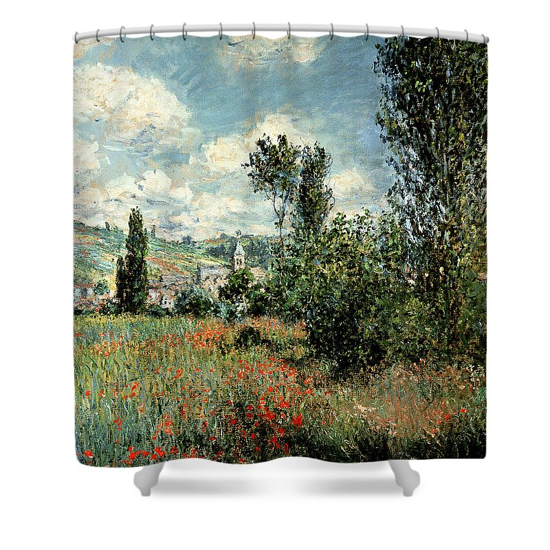 Path Shower Curtain featuring the painting Path through the Poppies by Claude Monet