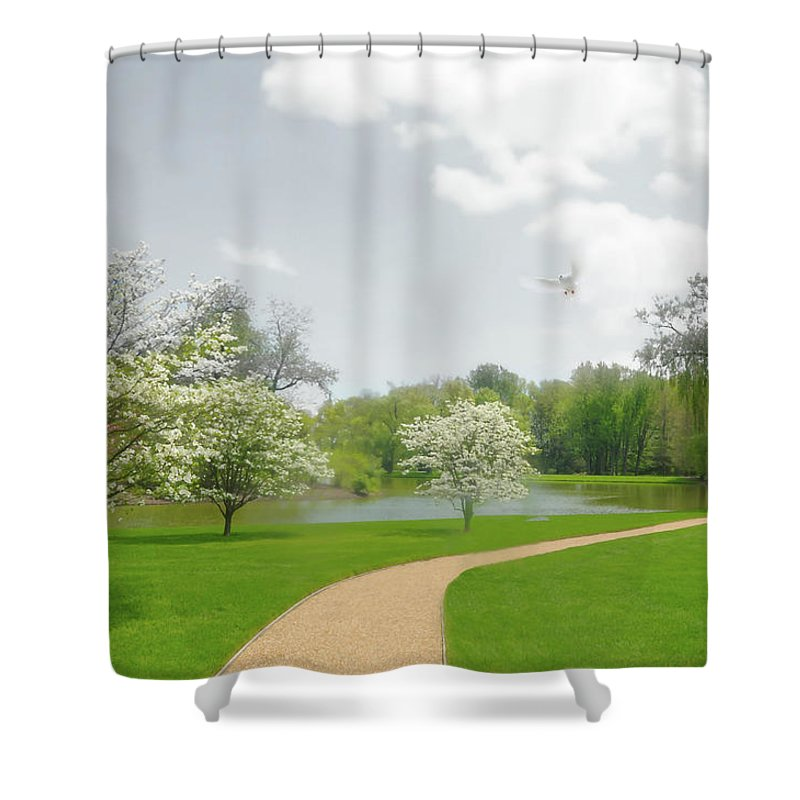 Pepsico Gardens Shower Curtain featuring the photograph Path To Heart by Diana Angstadt