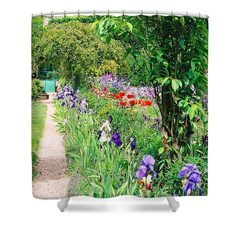 Claude Monet Shower Curtain featuring the photograph Path To Monet's House by Nadine Rippelmeyer