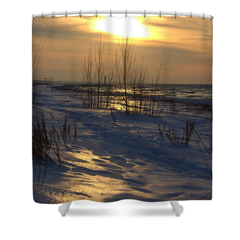 Grand Bend Shower Curtain featuring the photograph Path To The Beach by John Scatcherd