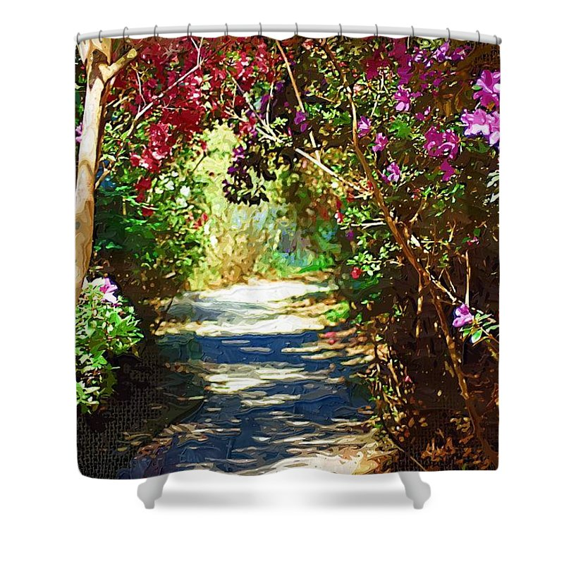 Landscape Shower Curtain featuring the digital art Path To The Gardens by Donna Bentley