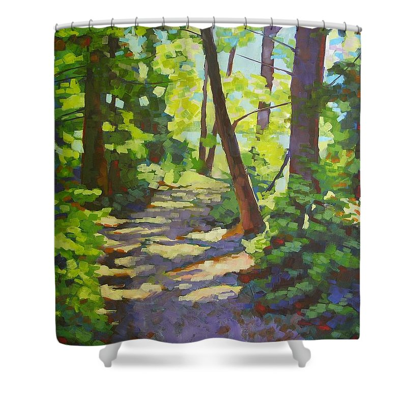 Landscape Shower Curtain featuring the painting Path To The Lake by Mary McInnis