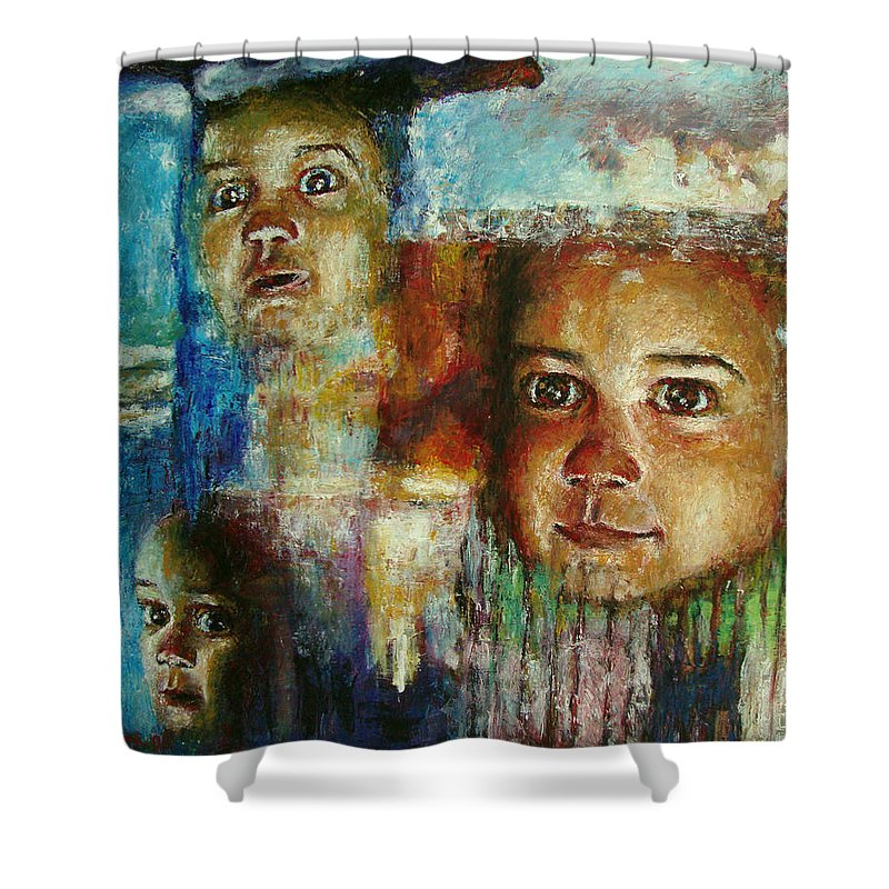 Oil Shower Curtain featuring the painting Paths Of Life by Ioulia Sotiriou