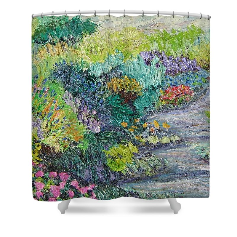 Flowers Shower Curtain featuring the painting Pathway Of Flowers by Richard Nowak