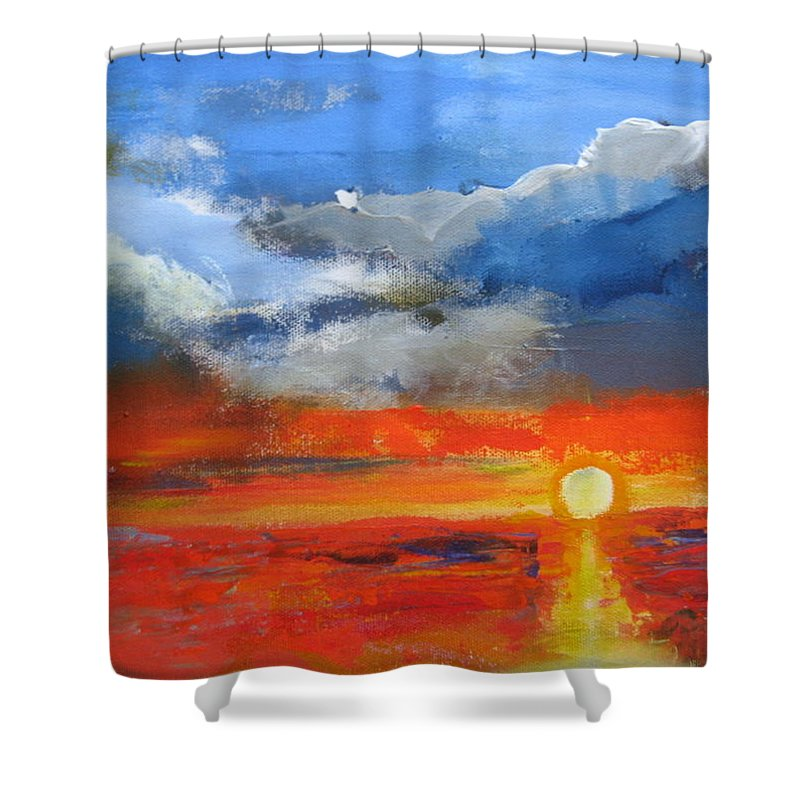 Sunset Shower Curtain featuring the painting Pathway To The Sun by Melody Horton Karandjeff
