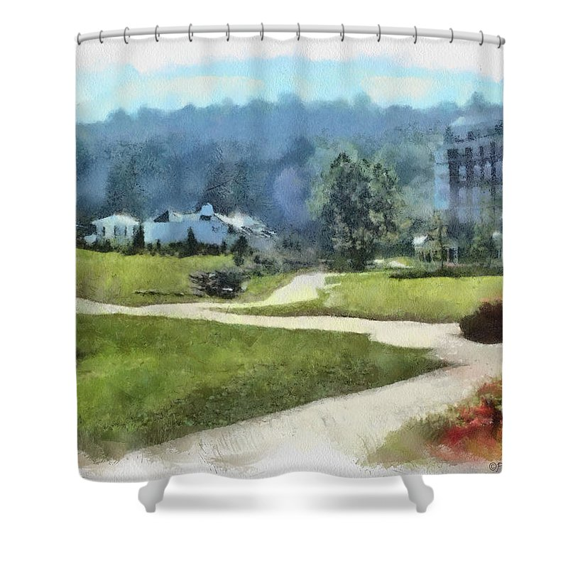 Homestead Shower Curtain featuring the painting Pathways by Paulette B Wright