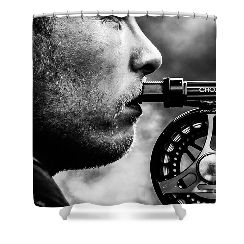 Fly Fisher Shower Curtain featuring the photograph Patience by Sindre Engelstad