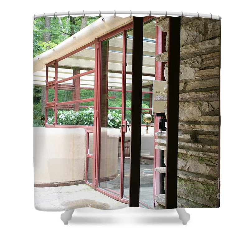 Falling Water Shower Curtain featuring the photograph Patio Fallingwater by Chuck Kuhn