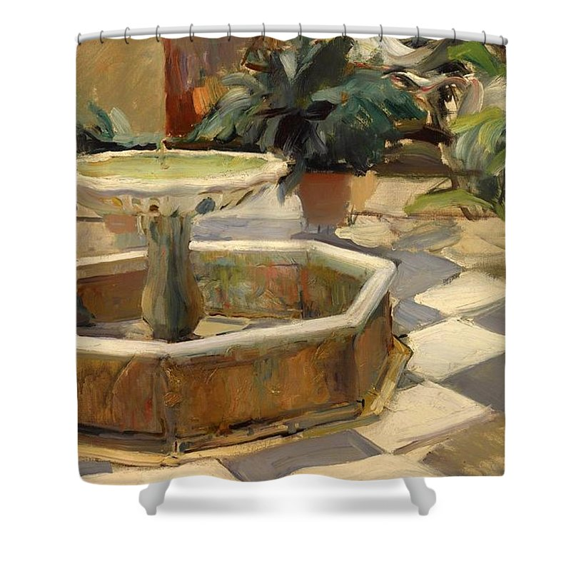 Painting Shower Curtain featuring the painting Patio Fountain In Seville by Mountain Dreams