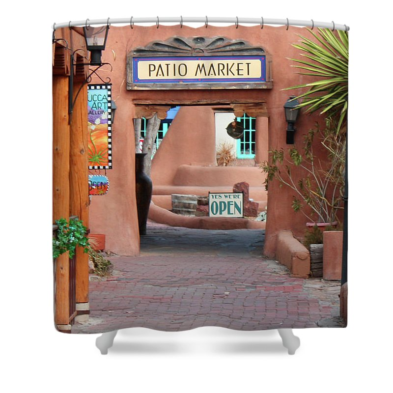Patio Market Shower Curtain featuring the photograph Patio Market by Tommy Anderson