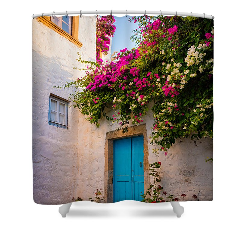 Aegean Sea Shower Curtain featuring the photograph Patmos Bougainvillea by Inge Johnsson