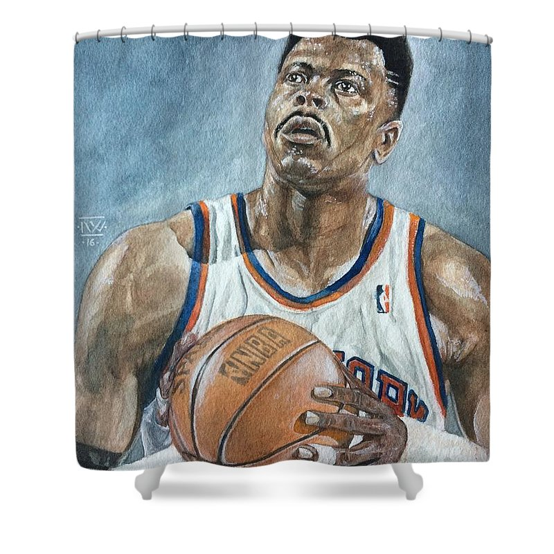Patrick Ewing Shower Curtain Featuring The Painting By Nigel Wynter