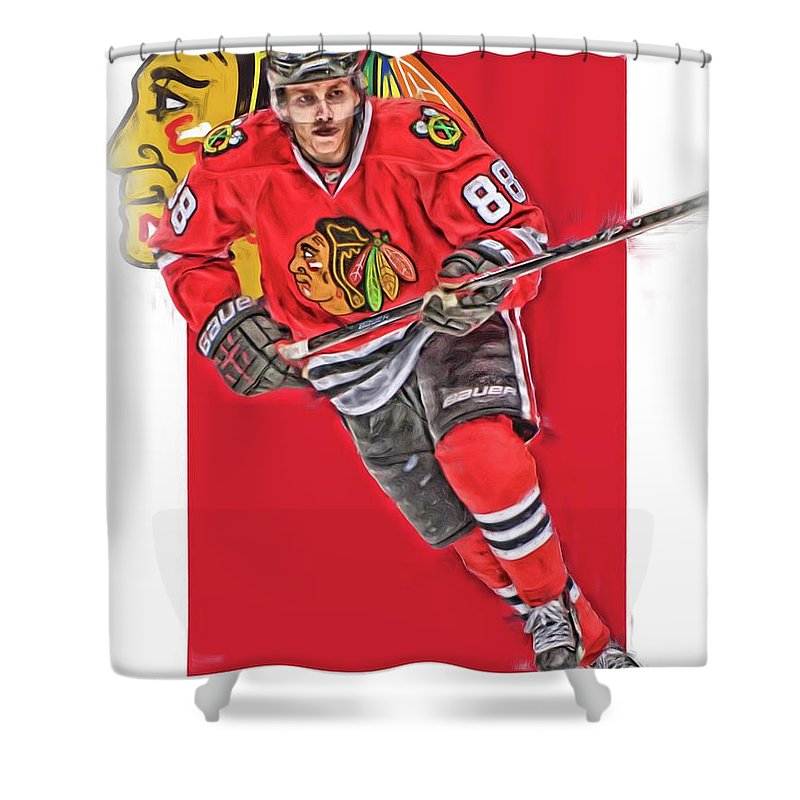 Patrick Kane Shower Curtain Featuring The Mixed Media Chicago Blackhawks Oil Art Series 3