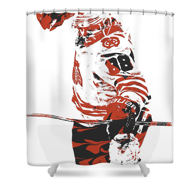 Patrick Kane Shower Curtain Featuring The Mixed Media Chicago Blackhawks Pixel Art 2 By