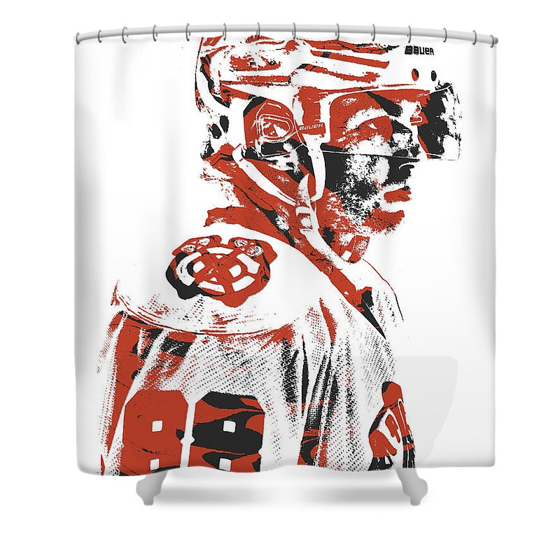 Patrick Kane Shower Curtain Featuring The Mixed Media Chicago Blackhawks Pixel Art 3 By